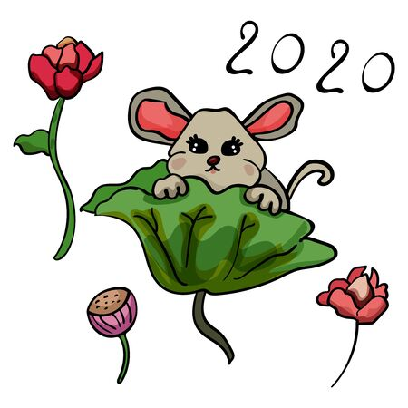 Chinese mouse and lily flowers. Zodiac Doodle illustration. Symbol of the New Year 2020. - Vector. Vector illustration Banco de Imagens - 133722243