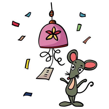 Mouse or rat ringing the bell, good Luck, Prosperity, Health. Doodle illustration. Symbol of the New Year 2020. - Vector. Vector illustration