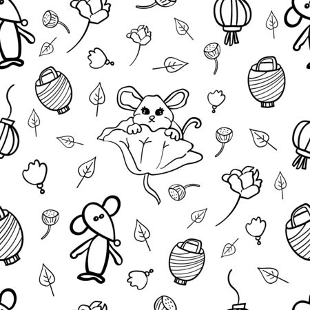 Traditional Chinese mice or rats, Lunar New Year, 2020. Coloring page, Coloring book. Contour. Big set with rodents. Repeat ornament. Illustration vector.