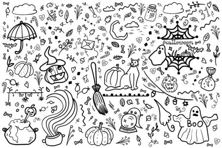 Scrap Set Elements. Halloween. Coloring page, Coloring book. Contour. Colorful pumpkins, cat, heart, vector collection nighttime and horror. Doodle set from different elements. Holiday in 31 October.