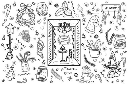 Christmas big collection of design elements. Wreath, jar, coffee house, mistletoe, sock, candle, bells and etc. Symbol of the New Year and Christmas. Home decor. - Vector. Vector illustration Illusztráció
