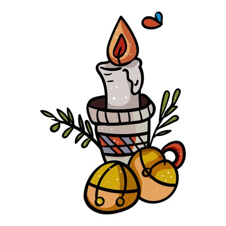 Christmas candle with bells. Symbol of the New Year and Christmas. Home decor. - Vector. Vector illustration
