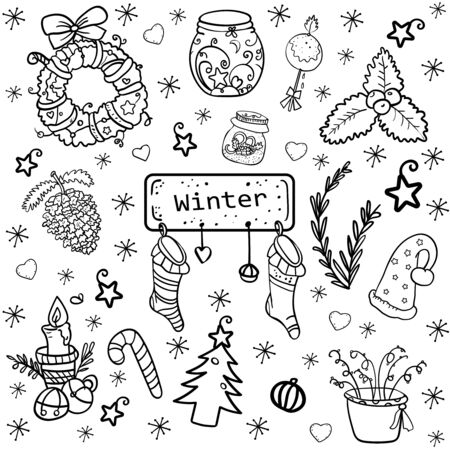 Christmas collection. Wreath, jar, mistletoe, sock, candle, bells and etc. Coloring page or book for children and adults. Symbol of the New Year and Christmas. Home decor. - Vector illustration