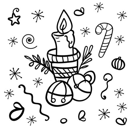 Christmas candle with bells. Symbol of the New Year and Christmas. Christmas balls and caramel cane. Coloring page or book for children and adults. Home decor. - Vector. Vector illustration