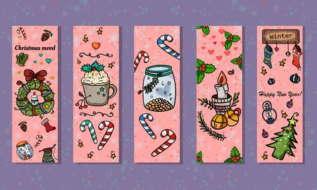 Christmas bookmarks for books or web banners. 5 thematic bookmarks with a caramel cane, spruce, wreath, candle, etc. Symbol of the New Year and Christmas. Home decor. - Vector. Vector illustration Illusztráció