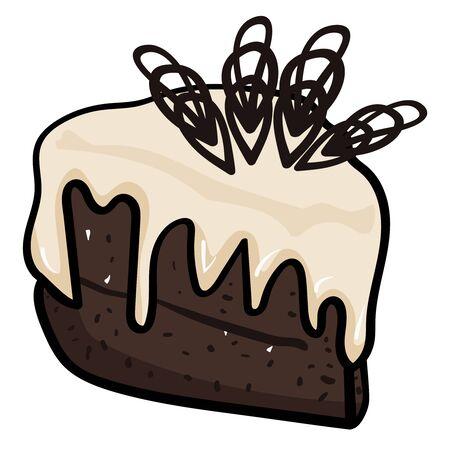 Partie de gâteau avec décoration en chocolat. Gâteau de la Confiserie, Cafétéria. Pâtisseries sucrées pour anniversaire, Noël, Nouvel An, Baby Shower. Vecteurs