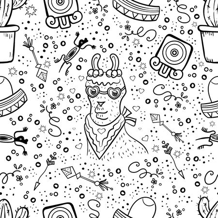 Llama, Sombrero, Mexican style, Holiday pattern. Set with mexican elements. Peru Pattern. Coloring page, Coloring book. Contour. Tribal doodles Arrow, ornament, heart and star. - Vector.