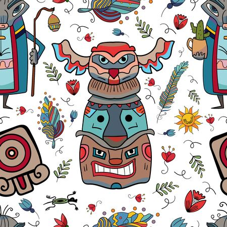 Totem made of stone or wood and Boho. Landmark Vector, native idol. Vector illustration backgrounds.