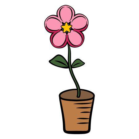 Flower in a pot. Bloom. Spring-summer season, home decoration. Illustration vector