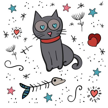 Scrapbooking set Cat vector or Kitten and Heart shape. Stars, hearts, fish skeleton. Valentine's Day, 14 February. Hand drawn animal. A pet. Heart Shaped Eyes in a Cat.  イラスト・ベクター素材