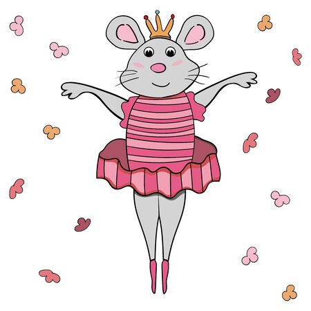 A mouse ballerina in a pink tutu performs a graceful dance. Symbol of the New Year 2020. Cartoon style, vector. - Vector. Vector illustration