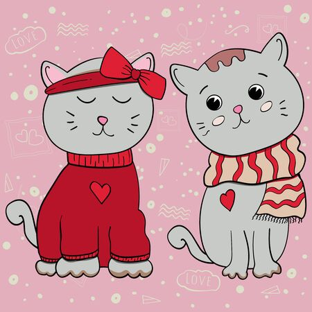 Little kitten. You complete me. Cat with a bow and a cat in a scarf. Happy Valentines Day 14 february. Cartoon character. Love baby illustration. Vector illustration on color pink backgrounds.