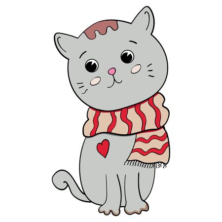 Little kitten. You complete me. Cat in a scarf. Happy Valentines Day 14 february. Cartoon character. Love baby illustration. Vector illustration on transparent backgrounds. Çizim