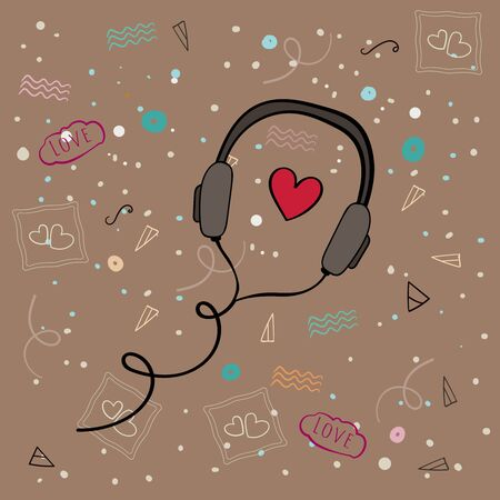 Headphones with cord. Love of music, Love card. Birthday, Valentines Day. Vector illustration on color backgrounds. Ilustrace