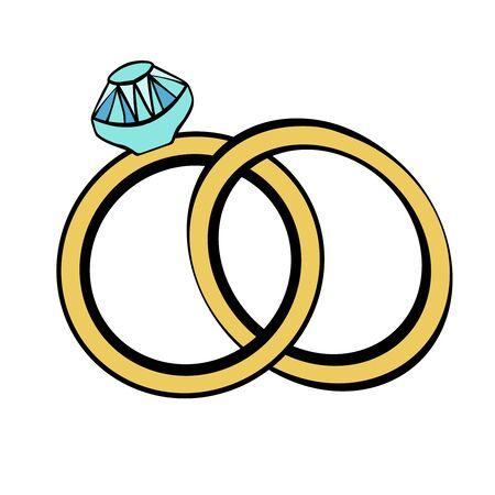 Vector wedding rings doodle style, Happy valentine. 14 february doodle. Ilustración de vector