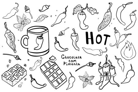 Hand drawn of fresh chili pepper Doodle. Set of hot Mexican peppers. Hand drawn Coloring page adult and kids, woman coloring book. Black and white. Vector illustration on transparent backgrounds. Banque d'images - 138291991