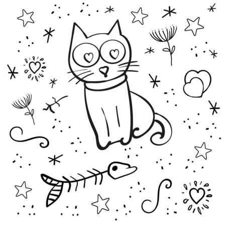Set Cat vector or Kitten and Heart shape. Valentine's Day, 14 February. Hand drawn animal. A pet. Heart Shaped Eyes in a Cat. Coloring page adult and kids Black and white.
