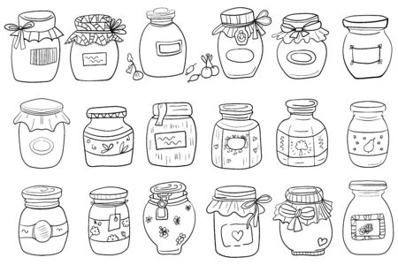 Jar Big Set. Coloring page or book. Coloring page adult and kids, woman coloring book. Black and white. Interior Jar. Scandinavian style, comfort in the house. Hygge. - Vector. Vector illustration