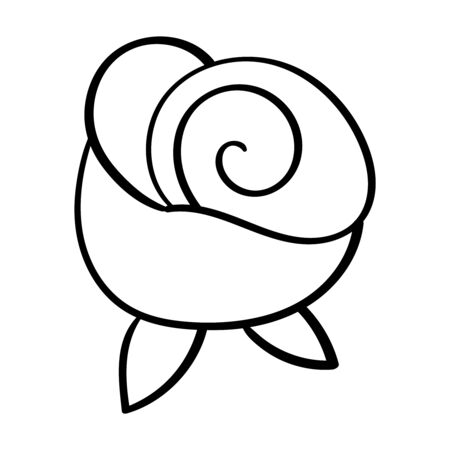 Beautiful rose flower. Rose bud in cartoon style. Vector doodle illustration. Coloring page adult and kids, woman coloring book. Black and white. 向量圖像
