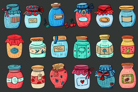 Jar Big Set. Interior Jar. Shabby chic and Cozy Home. Scandinavian style, comfort in the house. Hygge. - Vector. Vector illustration