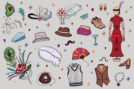 Womens and Mens Fashion of the last century, 1920s Vector doodle illustration