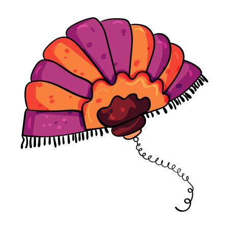 Hand fan for a woman. Vector doodle illustration. The Great Gatsby Style, 1920-1930s.
