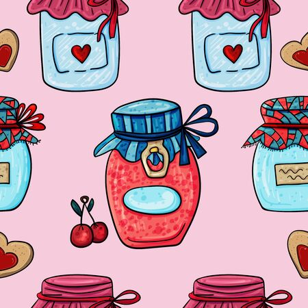 Jars of marmalade or jam. Seamless background. Vector Illustration for any design.