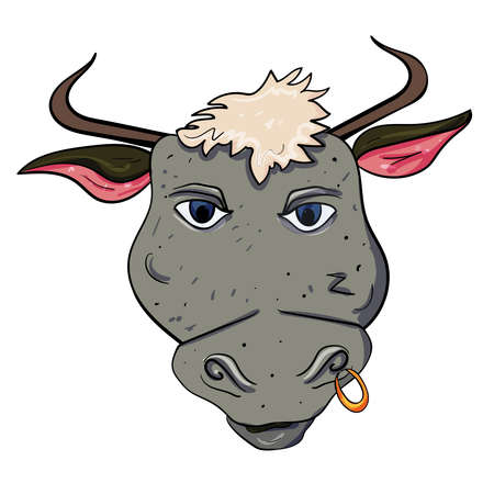 Wild bull with an earring in the nose. Vector doodle illustration on transparent or white backgrounds.