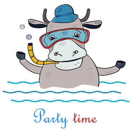 Cute Bull dives into the water. Party Time, Vector illustration for children. Vectores