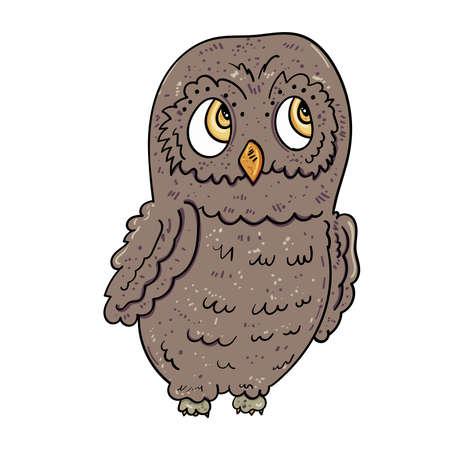 Clever owl. Bird illustration, Vector illustration for children.