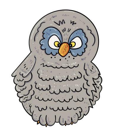 Curious owl. Bird illustration, Vector illustration for children. Illusztráció