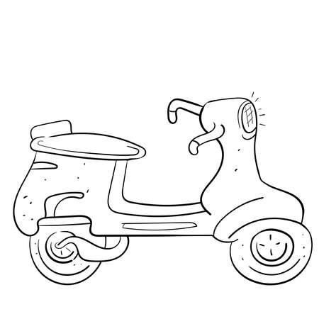 The scooter or the moped for delivery. Hand drawn vector illustration.