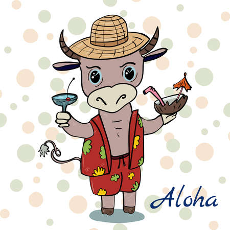 Bull in the Hawaiian style. Aloha Party. Hand drawn vector illustration.