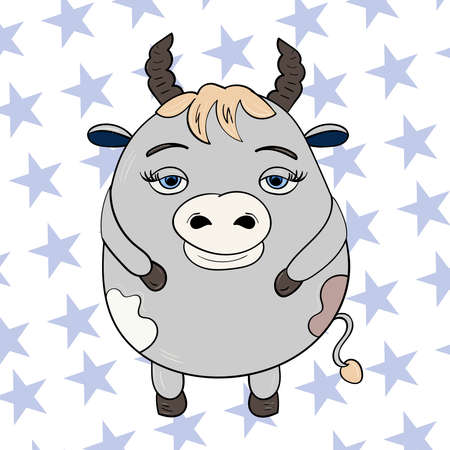 Cute Bull or Cow 2021, happy New Year. Vector doodle illustration Chinese lunar zodiac