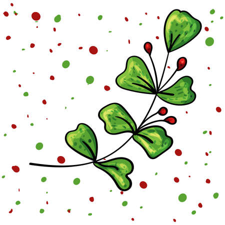 Holly Leaves decoration with Red Berries Vector. Christmas d cor. New Year Vector. 向量圖像