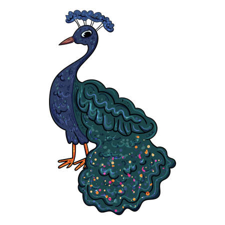 Cute Bird Peacock with a royal tail. Festive Illustration for Wedding and other events. Vector illustration drawn by hand 向量圖像