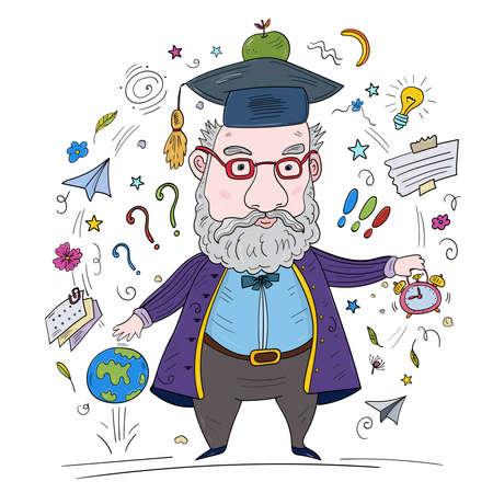 Crazy Smart Scientist Teaches a Lesson. Vector clip art illustration.