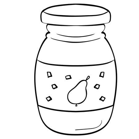Pear jam, Vector clip art illustration. Coloring page or book for children and adults.