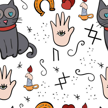 Mystical pattern with Candle, Cat, magic signs. Palmistry, Vector Seamless texture.