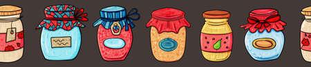 Jam or jam or honey for Breakfast, Sweets Dessert, Vector clip art illustration. 矢量图像