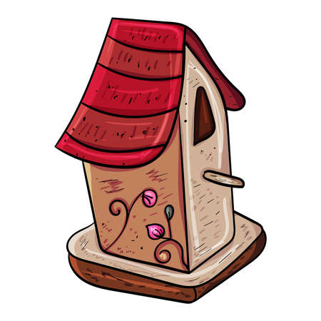 Wooden birdhouses Vector doodle illustration on transparent or white backgrounds.