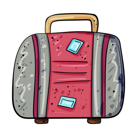 Suitcase for travel. Doodle picture of a suitcase on a transparent background. Cartoon clip art accessory for travelers. Vector illustration. Vector