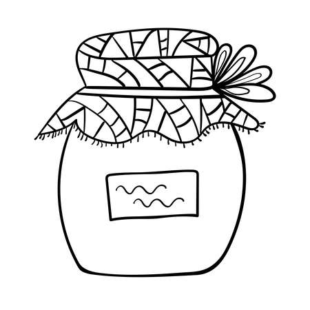 Breakfast Jam Sweets Dessert, Vector clip art illustration. Cartoon Coloring page or book for children and adults. 向量圖像