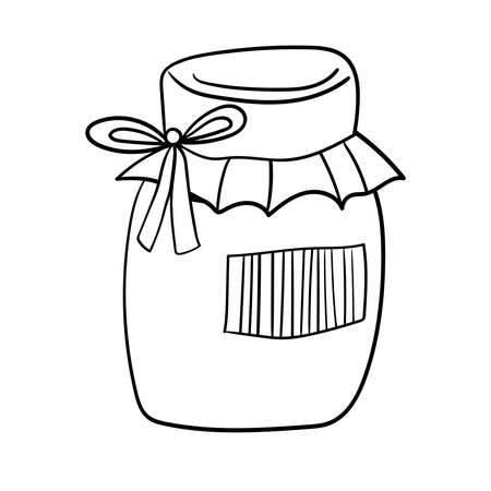 Breakfast Jam Sweets Dessert, Vector clip art illustration. Food Coloring page or book for children and adults.