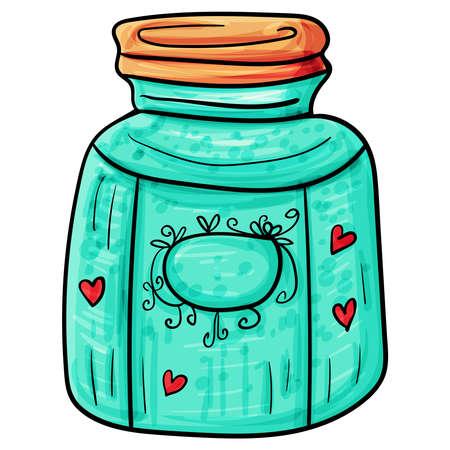 Jam or jam or honey for Breakfast, Sweets Dessert, Vector clip art illustration. Cozy Home