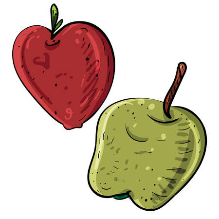 Apples cartoon isolated vector, Apple red and green, Vector doodle illustration
