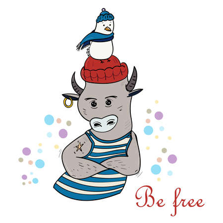 Bull Sea wolf. Illustration of the animal for children. Cartoon illustration Vector.