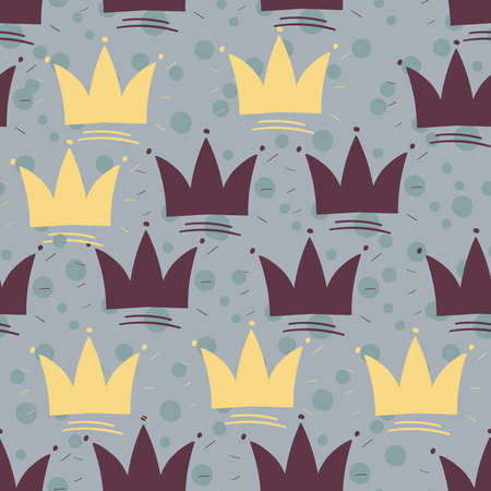 Gold crown Vector Seamless pattern.