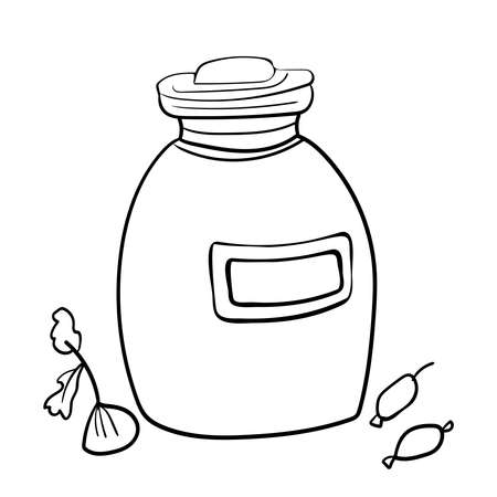 Cute jar for products. Vector clip art illustration. Cozy Home, Coloring page or book, anti-stress, hobby. 向量圖像