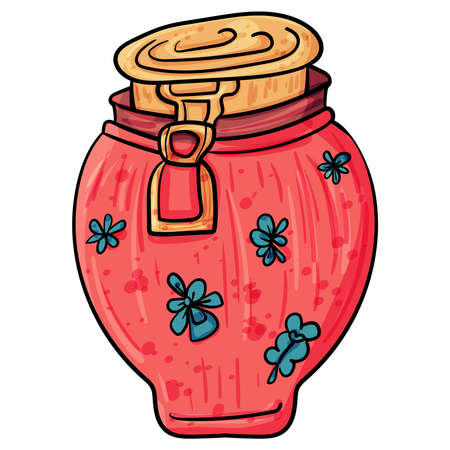 Cute jar for products. Vector clip art illustration. Cozy Home